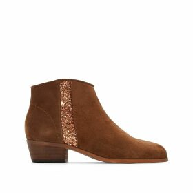 Leather Ankle Boots with Glitter Detail