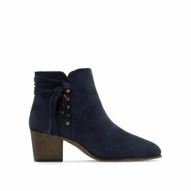 Leather Plaited Detail Ankle Boots