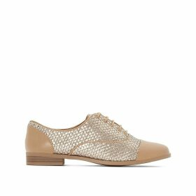 Flat Brogues With Woven Metallic Detail