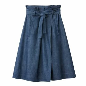 Denim Flared Skirt with Tie Waist