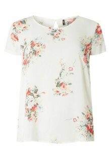 Womens **Only White Floral Scoop Neck Top, White