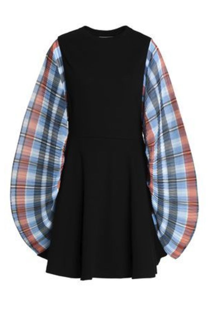 Opening Ceremony Woman Checked Crepe-paneled Ribbed Cotton-blend Mini Dress Black Size S