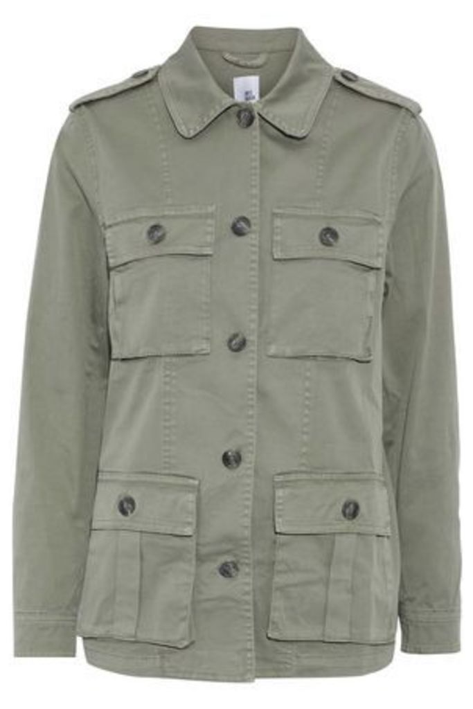 Iris & Ink Woman Cotton-blend Twill Jacket Army Green Size 14