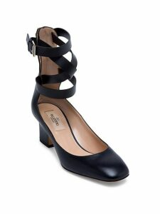 Rockstud Leather Ankle-Wrap Pumps