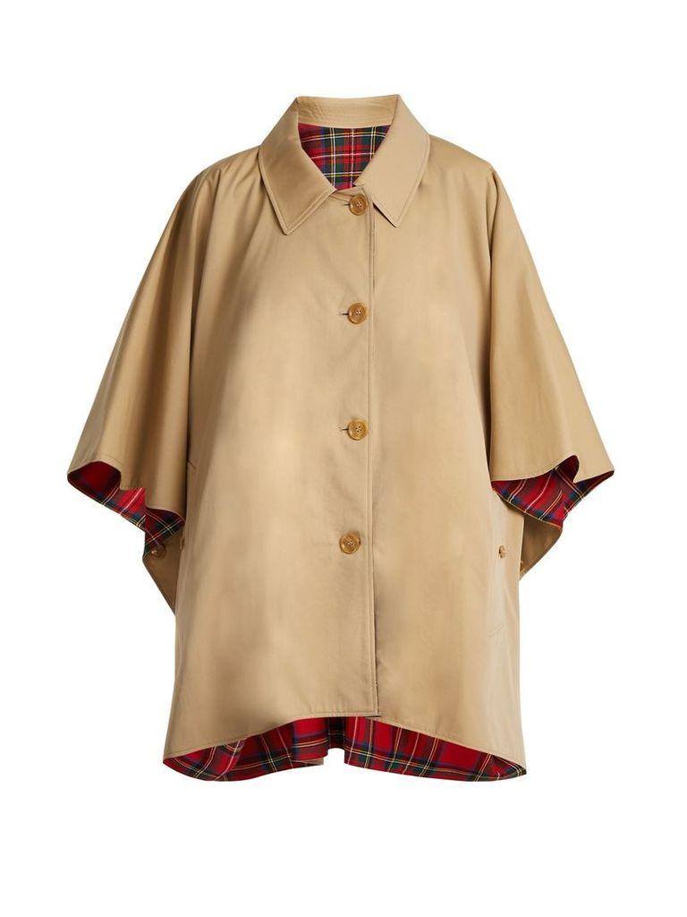 Reversible wool-twill cotton-gabardine cape