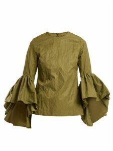 Marques'almeida - Ruffle-trimmed Cotton-blend Top - Womens - Khaki
