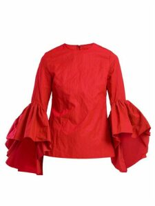 Marques'almeida - Oyster Bell-sleeve Cotton Top - Womens - Red