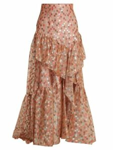 Peter Pilotto - Fil Coupé Jacquard Silk-blend Organza Skirt - Womens - Nude Print