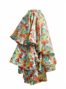 Richard Quinn - Floral-print Asymmetric Tiered Skirt - Womens - Multi