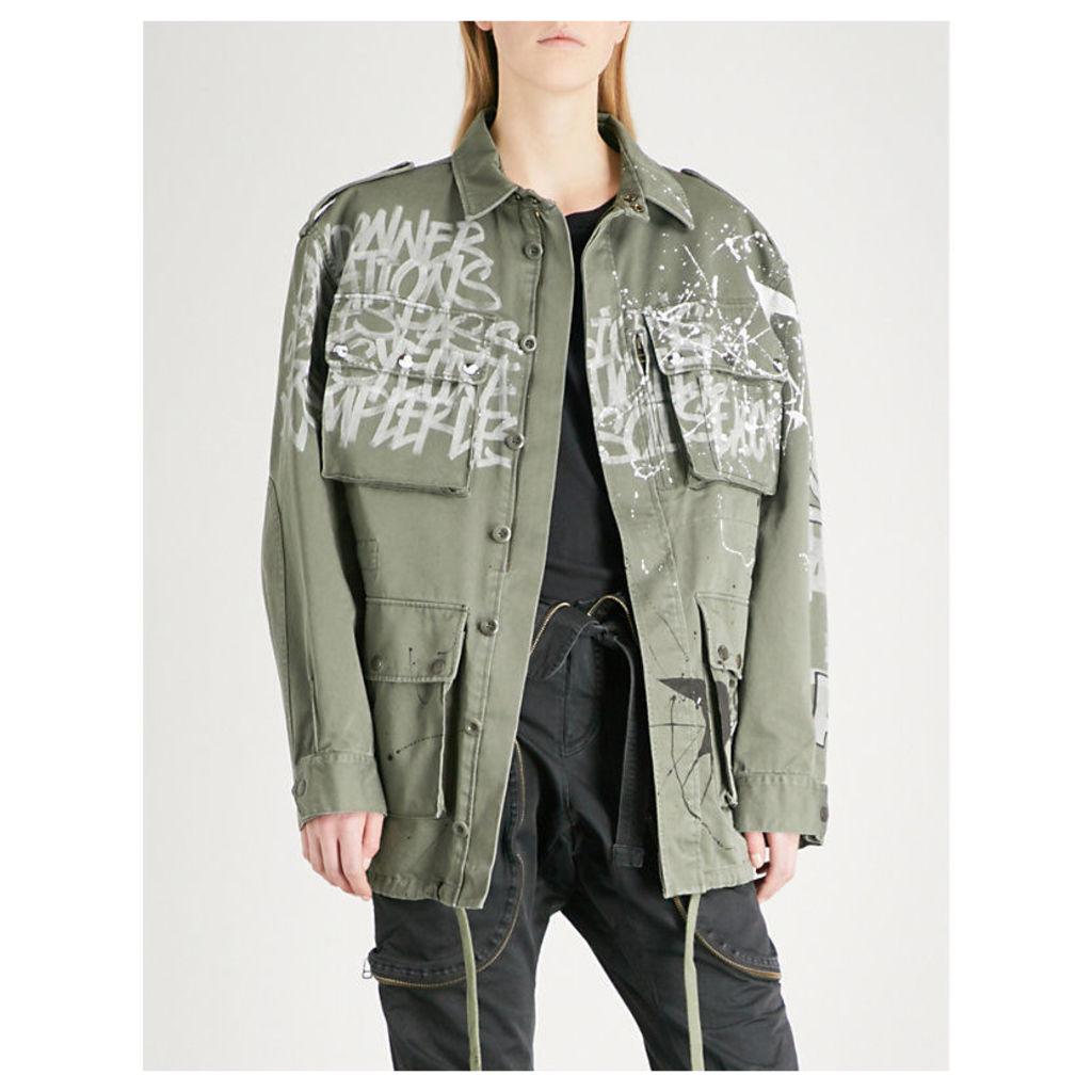 Graffiti-print cotton-canvas parka jacket