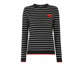 Kiss Embroidered Stripe Knit