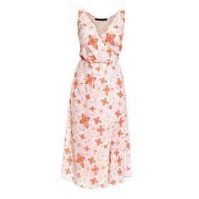 Philosofée by Glaucia Stanganelli - Tangerine Floral Chiffon Mid Wrap Dress
