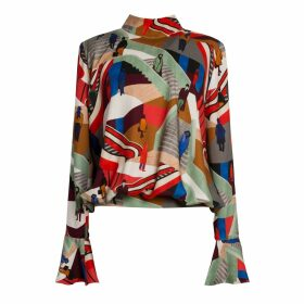 Vols & Original - Black & Purple Leather Bomber Jacket With Silver Print Motif