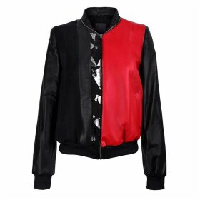 Vols & Original - Black & Red Leather Bomber Jacket With Silver Print Motif