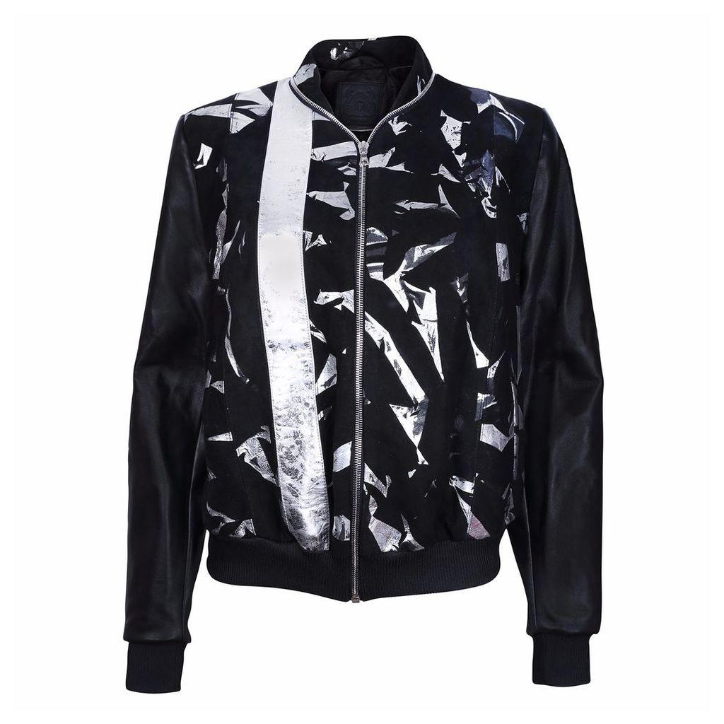 Vols & Original - Black Suede Leather Bomber Jacket With Metallic Print Motif
