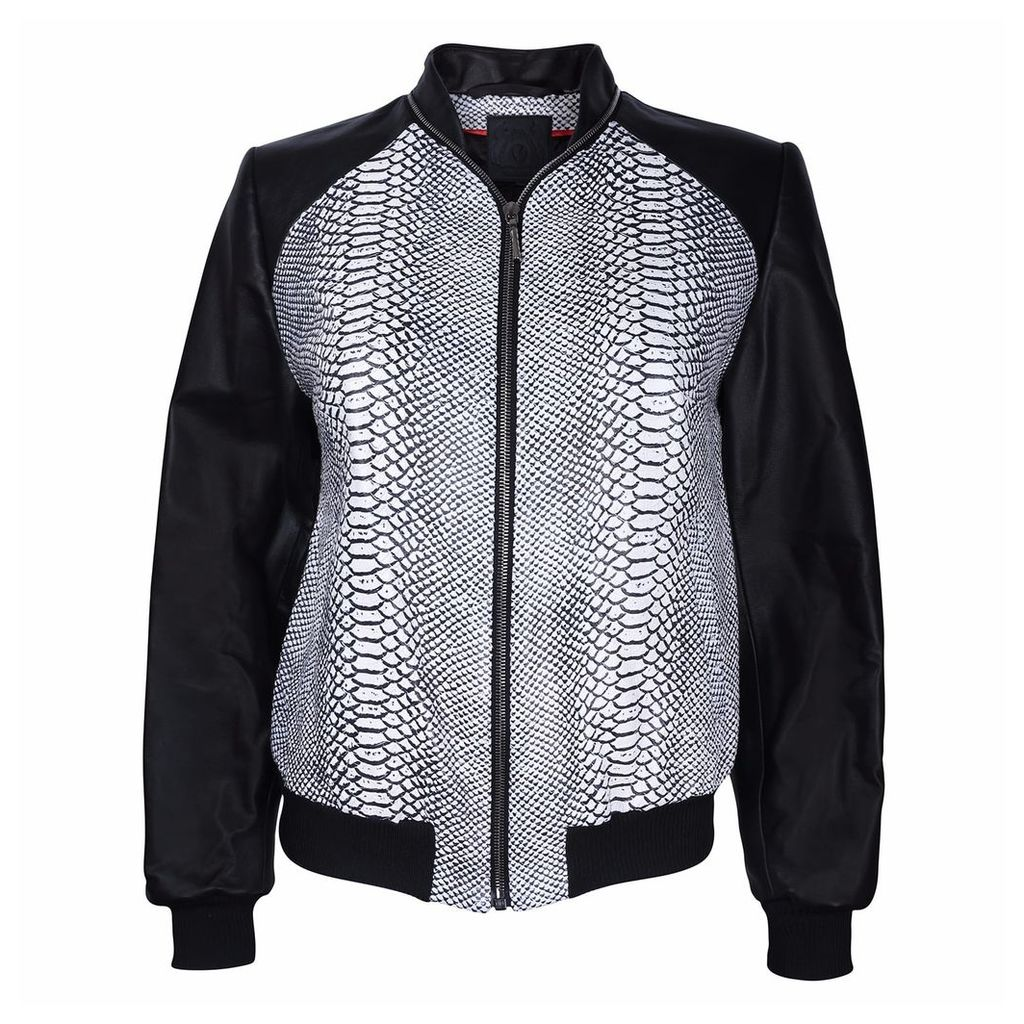 Vols & Original - Monochrome Snake Leather Bomber Jacket
