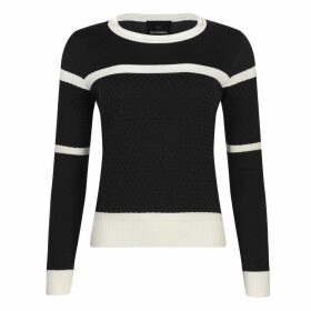 NY CHARISMA - Black & White Two Tone Knit Sweater With Textured Checker Pattern
