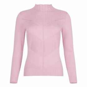 NY CHARISMA - Pink Baby Cables & Textured Symmetric Pattern Mock Neck Sweater