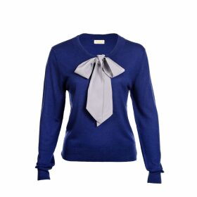 Asneh - Helen Sweater Blue with Silver Grey Silk Tie
