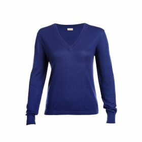Asneh - Mathilda Sodalite Blue V Neck Sweater Fine Knit Cashmere