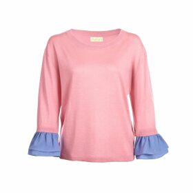Asneh - Agnes Candy Pink Ruffle Trimmed Silk Cashmere Top