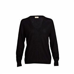 Asneh - Mathilda Black Cashmere V Neck Sweater In Fine Knit