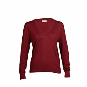 Asneh - Mathilda Cabernet Cashmere V Neck Sweater In Fine Knit