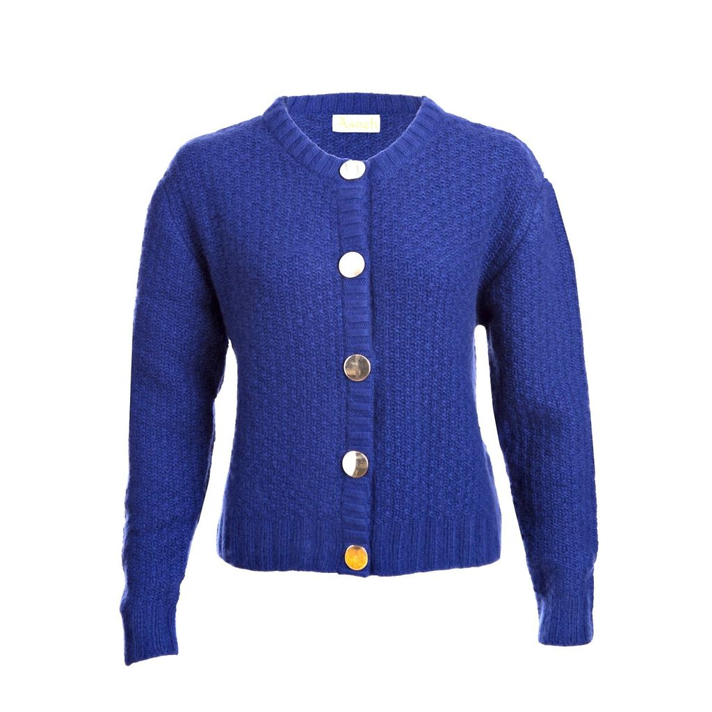 Asneh - Blue Hand Knitted Cardigan Jacket with Gold Buttons