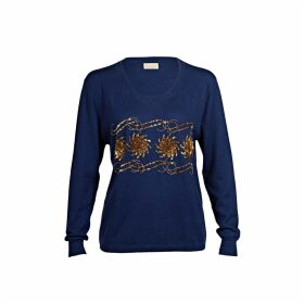 Asneh - Sequin & Bead Embellished Krystle Cashmere Sweater In Blue