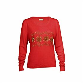 Asneh - Sequin & Bead Embellished Krystle Cashmere Sweater In Red