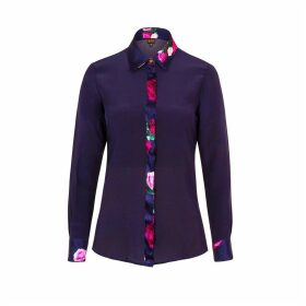 Sophie Cameron Davies - Midnight Blue Rose Silk Shirt