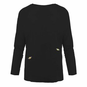 INGMARSON - Bee Embroidered Dropped Shoulder T-Shirt Black Women