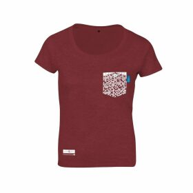 ANCHOR & CREW - Fire Brick Red Digit Print Organic Cotton T-Shirt