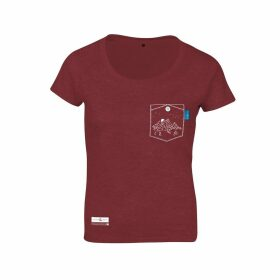 ANCHOR & CREW - Fire Brick Red Horizon Print Organic Cotton T-Shirt