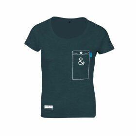 ANCHOR & CREW - Steel Blue Anchormark Print Organic Cotton T-Shirt (Womens)