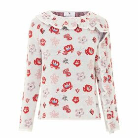 SABINNA - Marie Flower Jumper White