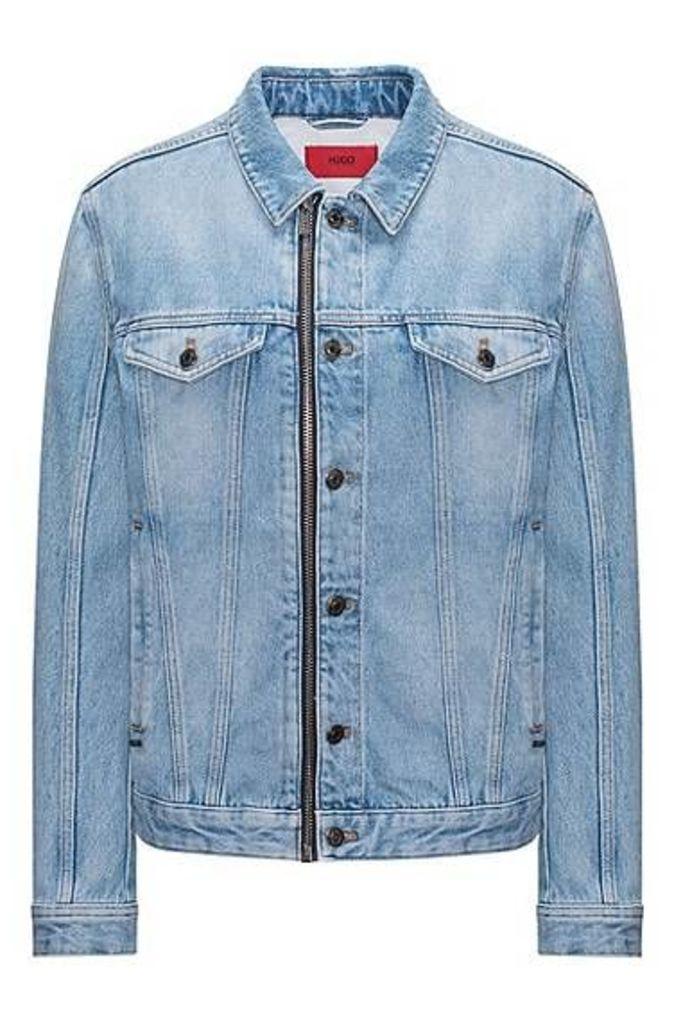 Oversized-fit stonewashed denim jacket with zip detail