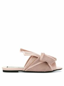 Nº21 abstract bow mesh sandals - Neutrals