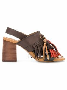 See By Chloé fringe tassel sandals - Brown