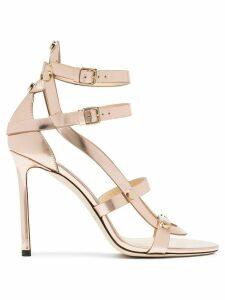 Jimmy Choo Rose gold Motoko 100 leather sandals - Pink