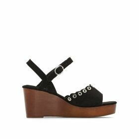 Wide Fit Wood Effect Wedge Sandals