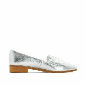 Wide Fit Metallic Loafers with Heel