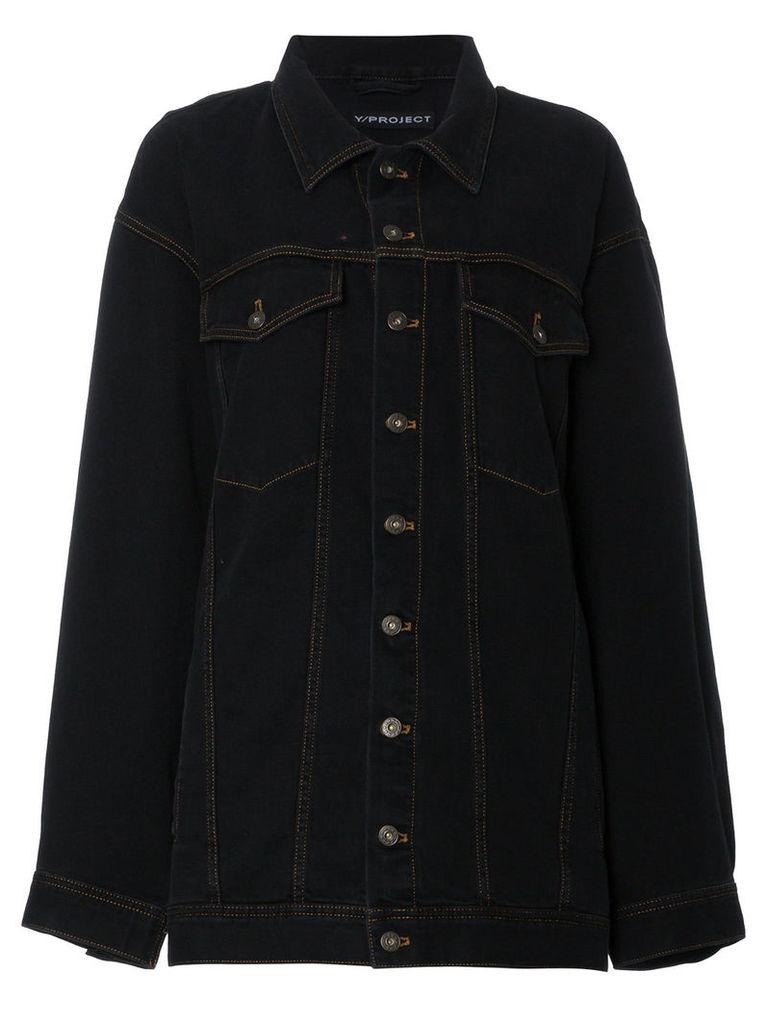 Y / Project Oversized Shoulder Panel Denim Jacket - Black