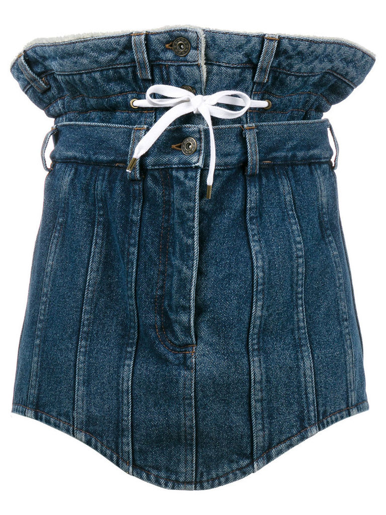 Y / Project double waist denim mini skirt - Blue