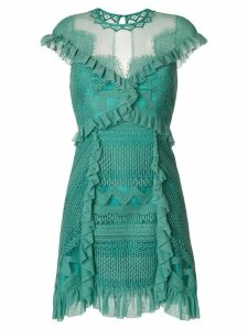 Three Floor ruffle-trimmed lace dress - Green