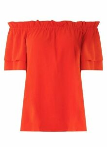 Womens Red Frill Sleeve Bardot Top, Red
