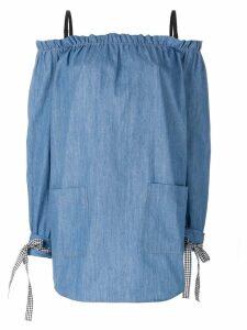 Miu Miu off-the-shoulder dress - Blue