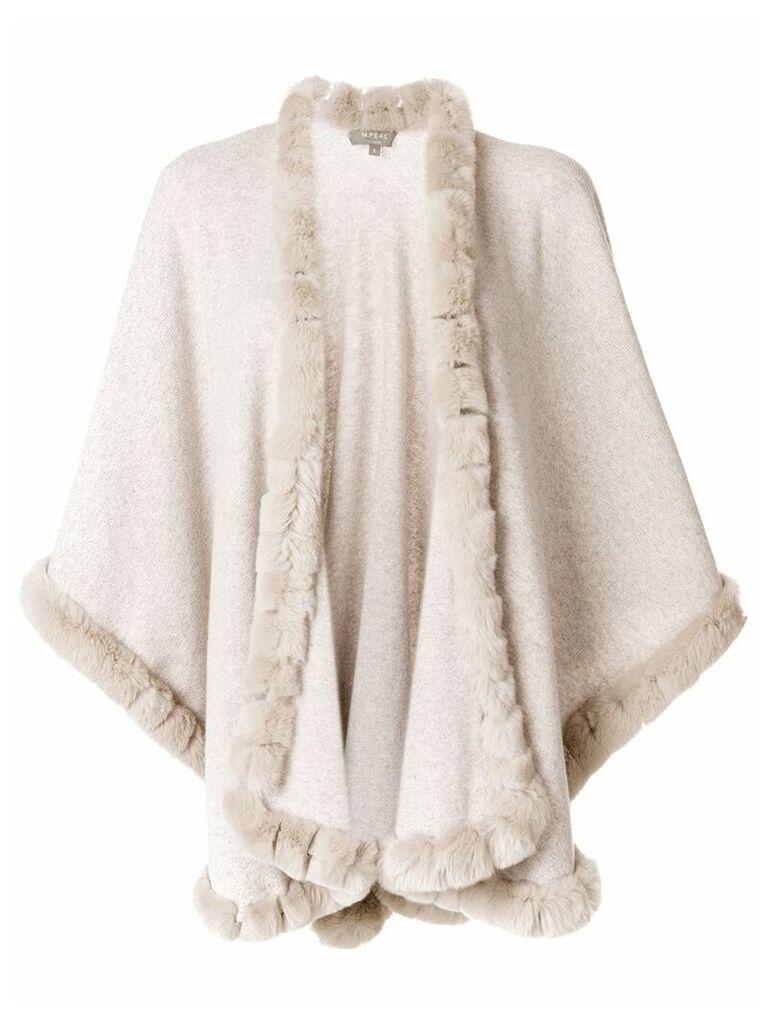 N.Peal fur trimmed cashmere cape - Nude & Neutrals