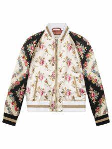 Gucci Rose print silk bomber jacket - PINK