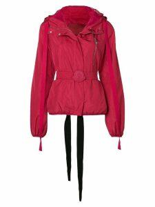 Moncler belted bomber jacket - Red